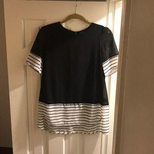 Black and black/white striped blouse